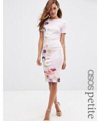 ASOS PETITE - Robe moulante avec t-shirt à motif floral placé - Violet