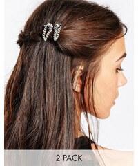 Kat&Bee Kat & George - Lot de deux barettes à cheveux avec crâne et chaîne - Argenté