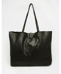 ELISE RYAN Černá kožená taška s dvojitými úchyty