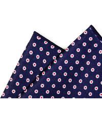 Avantgard Modrý hedvábný kapesníček s kopretinami_