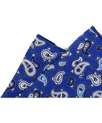 Avantgard Modrý vzorovaný hedvábný kapesníček_