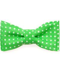 Avantgard Zelený chlapecký MINI motýlek s bílými puntíky