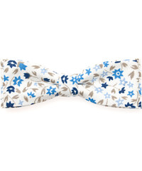 Avantgard Bílý bavlněný motýlek s modrými květy