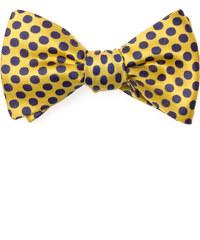 Avantgard Žlutý vázací motýlek s tečkami + kapesníček