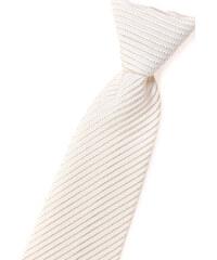 Avantgard Světle smetanová chlapecká kravata s jemně lesklými proužky _