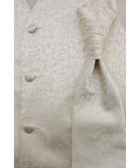 Avantgard Chlapecká světle smetanová vesta s lesklým květovaným vzorem + regata + kapesníček _