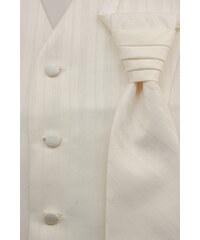 Avantgard Světle smetanová vesta s různě širokými proužky + regata + kapesníček _