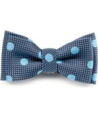 Avantgard Tmavě modrý chlapecký motýlek s tečkami a puntíky