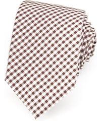 Avantgard Světle hnědá luxusní bavlněná kravata s mřížkou _