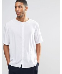 ASOS - Chemise sans col à manches mi-longues - Blanc - Blanc