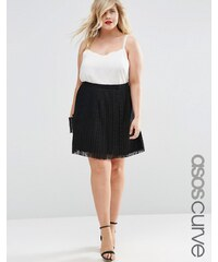 ASOS CURVE - Mini-jupe en dentelle plissée - Noir