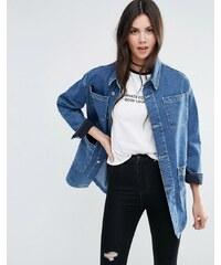 ASOS - Veste workwear en jean à délavage bleu moyen - Bleu