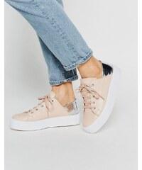 ASOS - DOWNTOWN - Geschnürte Sneakers mit flacher Plateausohle - Beige