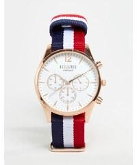 Reclaimed Vintage - Montre chronographe en toile à rayures avec cadran blanc - Multicolore - Multi