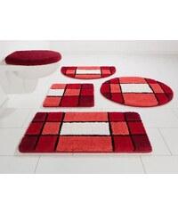 MY HOME Badematte Stand WC-Set Pia Höhe 20 mm Microfaser rutschhemmender Rücken rot 9 (2-tlg Stand-WC-Set)