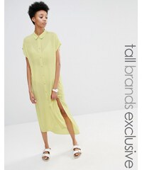 ADPT Tall - Kurzärmliges Shirtkleid mit Seitenschlitz - Gelb