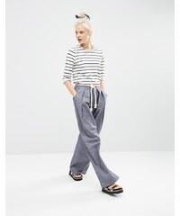 ASOS - Chambray-Hose mit weitem Bein und Kordelgürtel - Blau