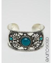 ASOS CURVE - Large bracelet manchette gravé avec pierres - Multi