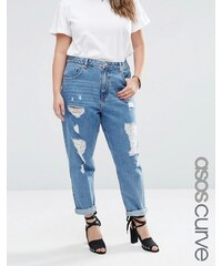 ASOS CURVE - Mom-Jeans in Waterfall-Waschung - Blau