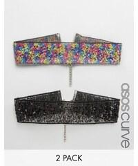ASOS CURVE - Halsbänder mit Pailletten im 2er-Pack - Mehrfarbig