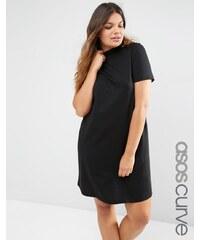 ASOS CURVE - T-Shirt-Kleid mit hohem Ausschnitt - Schwarz