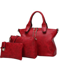 Lesara 3-teiliges Handtaschen-Set in Leder-Optik - Rot