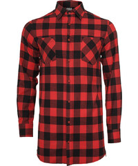 Urban Classics Side-Zip Long Checked Flanell Langarmhemden Hemd black/red