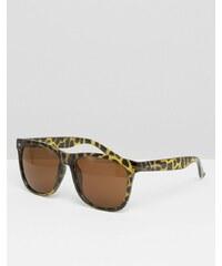 Jack & Jones - Lunettes de soleil carrées imprimé léopard - Noir