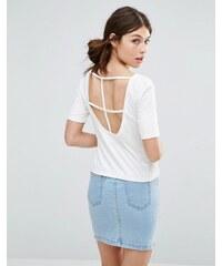 Good Vibes Bad Daze - T-shirt a lanières croisées au dos - Blanc