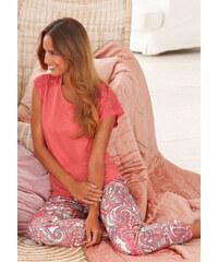 S.OLIVER Luxusní pyžamo s jemnou krajkovou vsadko korálová/potisk