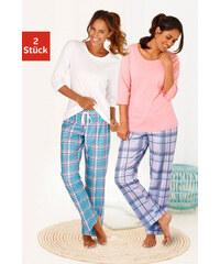 ARIZONA Pyžama z čisté bavlny, Arizona 2ks korálová kostka + režná kostka
