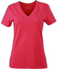 Dámské Stretch tričko V-výstřih - Zářivě růžová S