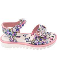 Canguro Dívčí květované sandály s kamínky - růžovo-bílé