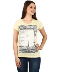 TopMode Moderní dámské tričko s potiskem a krátkým rukávem žlutá