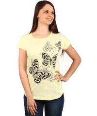 TopMode Příjemné tričko s potiskem motýlů žlutá