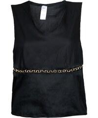 M-B-A-N Tee-Shirt Sans Manche Noir à Chaînes Dorées Incrustées Gold