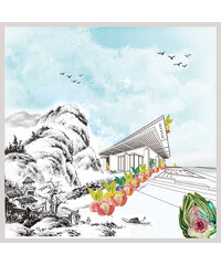 SEFHYIR Foulard en Chiffon de Soie Imprimé Oversize - Mountain of Tender