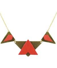 Charly James Collier Plastron Triangles en Cuir et Chaîne Laiton Doré Edmond