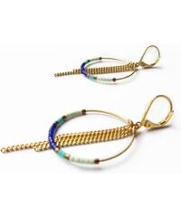 Maureen Linckenhely Boucles d'Oreilles Pendantes Créoles Dorées et Perles Bleues