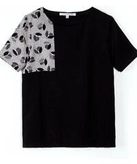 Maison Martin Morel T-shirt Col Rond en Soie Noir et Imprimé Nymphéa