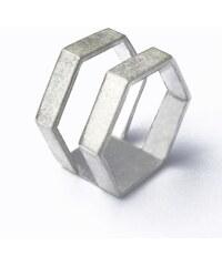 DV Jewellery Double Bague Hexagonale en Argent - HEXA