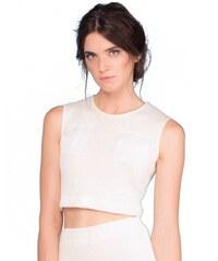 Elisa Sanna Crop Top Maille Blanc avec Poches Avant - The Nettle