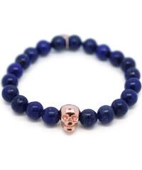 Gideon John Bracelet en Perles de Lapis Lazuli et Détail Crâne - Blue Skull