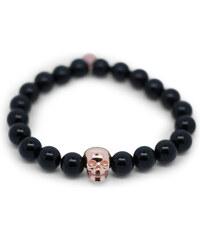 Gideon John Bracelet en Perles d'Onyx et Détail Crâne - Black Skull Opulence