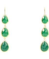 Latelita London Boucles d'Oreilles Pendantes Vert et Or - Onyx Triple Drop