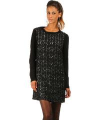Lesara Langärmliges Kleid mit Spitze - Schwarz-Weiß - 42