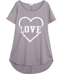 Lesara Kurzes Nachthemd mit Love-Print - Grau - 46
