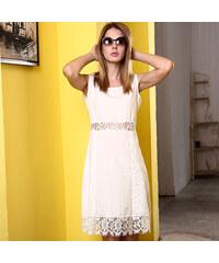 Lesara Kleid mit Spitzenbordüre - Weiß - S