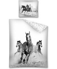 Detexpol Povlečení Koně černobílé bavlna 140x200, 70x80 cm