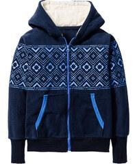 bpc bonprix collection Gilet polaire avec capuche en polaire peluche, T. 116/122-164/170 bleu manches longues enfant - bonprix